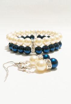 Pearl Wedding Jewelry / Bracelet and Earring Set / Blue Wedding / Bridesmaid Jewelry / Quinceanera / Bridal Jewelry Set / Navy and Ivory on Etsy, $14.00