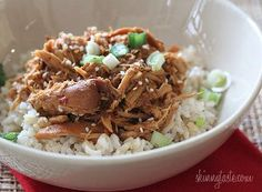 "SLOW COOKER SESAME HONEY CHICKEN: ~ From: ""Fave Healthy Recipes.Com."" ~ Recipe Courtesy of ""Gina Homolka from Skinnytaste.""  ~ Sweet, savory and a little spicy, this simple Asian inspired chicken dish has a balance of flavor combinations – serve this Slow Cooker Sesame Honey Chicken over your favorite rice and dinner is ready."