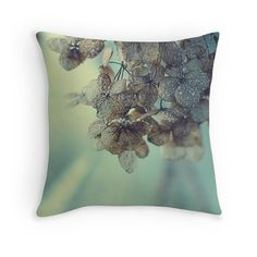 Floral Pillow Cover, Hydrangeas, Dried Flowers, Pastel, Sky Blue, Powder, Photo Pillow by Studio Yuki