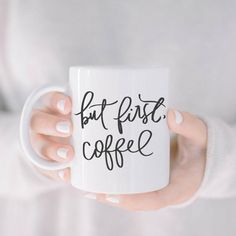 These pretty mugs make waking up a little easier and also make great gifts. But First Coffee Mug. Calligraphy Print, Tea And Books, But First Coffee, Farmhouse Furniture, Love And Light, Hostess Gifts, Special Gifts, Farmhouse Style, Coffee Mugs