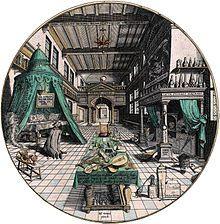 Het laboratorium van de alchemist, Hans Vredeman de Vries, circa 1595