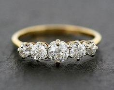 Antique Diamond Ring - Edwardian Five Stone Diamond Anniversary Ring - 18ct Gold Antique Ring