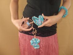 Turquoise Mosaic Hand wrapped belt by CRoanCollections on Etsy, $550.00