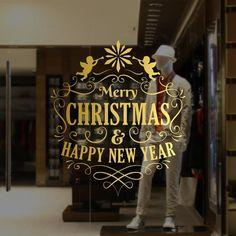 dd98ae4c6b90 Christmas Window Vinyl Stickers Vinilos Navideños