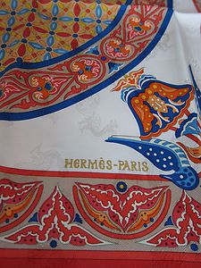 Detail of  Hermes Scarf *Ciels Byzantins* ...jacquard silk...design of peacocks woven into the silk.