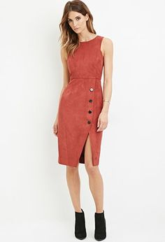 Contemporary Faux Suede Sheath Dress | Forever 21 - 2000145639