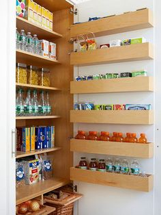 Multiply the capacity of any cabinet when you add storage to the interior side of the door. Six shallow shelves fit neatly between this door and the interior shelves to offer space for single-file lines of little luxuries and kitchen dry goods. Lips on each door shelf keep items from tumbling off.