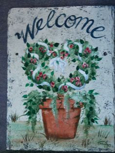 Hand Painted Personalized Slate Welcome Sign by ABeautifulGift, $39.99
