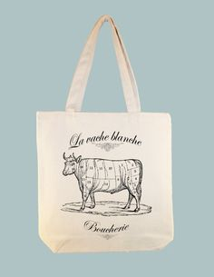 French Vintage Boucherie Butcher La Vache Cow on by Whimsybags, $12.00