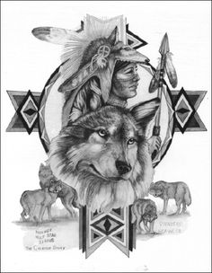 Native american tattoos - Wolf cycle of life awesome tattoo