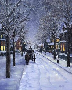 Beautiful Christmas scene by Alecia Underhill. I luv the classic scenes Winter Szenen, Winter Magic, Winter Christmas, Christmas Time, Merry Christmas, Winter Season, Holiday Fun, Winter Pictures, Christmas Pictures