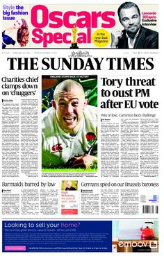 """""""Sunday Times: Tory threat to oust PM after EU vote Oscar Leonardo, Look Magazine, The Sunday Times, Win Or Lose, Leonardo Dicaprio, Bbc, Interview, February 2016"""