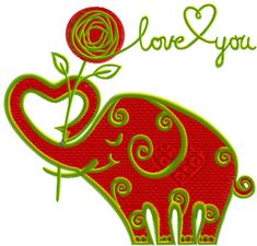 Valentine's Day Funny Elephant machine embroidery design