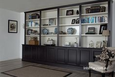 Wall Units | Interfar - Residential Tradtional black and white wall unit/bookcase with traditional detailing