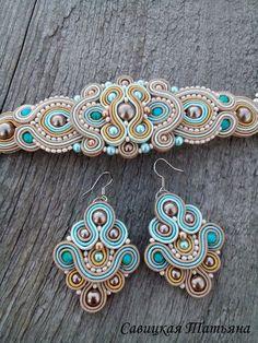 Bridal Beige Blue Soutache Set Beige Blue by MagicalSoutache Soutache Bracelet, Soutache Jewelry, Bead Jewellery, Beaded Earrings, Beaded Jewelry, Jewelery, Handmade Jewelry, Jewelry Accessories, Jewelry Design
