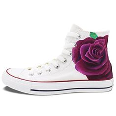 9d3015127c45 Women s Converse Shoes Hand Painted Purple Rose Fast Shipping Floral All  Star White High Top Canvas Sneakers