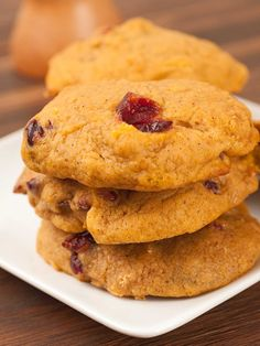 Spiced Pumpkin, Orange And Cranberry Cookies: Pumpkin, orange juice, dried cranberries and freshly ground spices combine to make the perfect fall cookie.