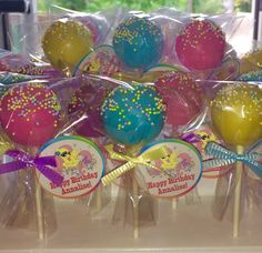 My Little Pony Cake Pops - thank you tags on cake pop favors