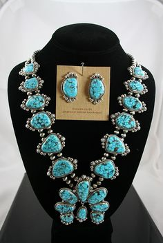 Guy Hoskie High Grade Kingman Spiderweb Turquoise Squash Blossom Necklace and Earring Set