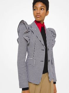 Dogtooth Cotton And Wool Ruffle-shoulder Blazer | Michael Kors Jackets For Women, Clothes For Women, Michael Kors Collection, Layered Look, Wide Leg Trousers, Fashion Outfits, Womens Fashion, Printed Blouse, Designing Women