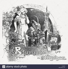 Download this stock image: Rumpelstiltskin - D1E6FN from Alamy's library of millions of high resolution stock photos, illustrations and vectors. Die Brüder Grimm, Rumpelstiltskin, Grimm Fairy Tales, Schneider, Stock Photos, Vectors, Daughter, Child, Painting