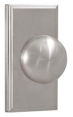 satin nickel both knobs locked or unlocked by push button inside interior door