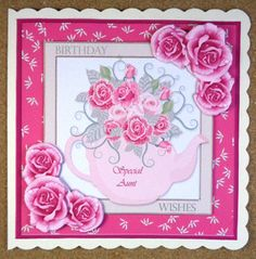 Rose Tea Card Front  on Craftsuprint designed by Sharon Vieira - made by Linda Short - Printed on matt photo paper and attached to cream scalloped card. Built up image with foam pads and added sentiments. A beautiful card in pretty colours and very quick to make. - Now available for download!