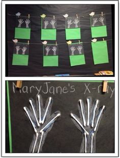 """Handprint X-Rays - Black paper with white crayons and Qtips. Can be used during an """"all about me"""" or """"community helper"""" theme. Would be great to bring in real x-rays to show off before making these. Learning about bones and muscles and what makes a human Community Helpers Kindergarten, Community Helpers Activities, In Kindergarten, Community Helpers Lesson Plan, Preschool Lessons, Preschool Crafts, Classroom Activities, Preschool Activities, Space Activities"""