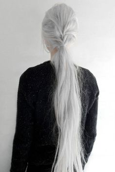 "novemberkind: "" today, slightly tousled half braided ponytail ""- - Weißes Haar Grey Hair, Blonde Hair, Long White Hair, Hair Inspo, Hair Inspiration, Pelo Color Plata, Yennefer Of Vengerberg, Braided Ponytail, Aging Gracefully"