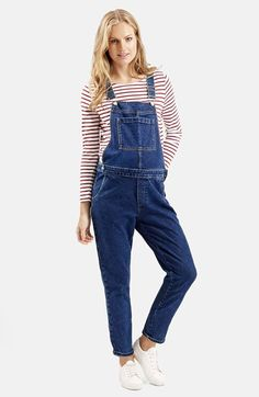 Topshop Denim Maternity Overalls (Mid Denim) available at #Nordstrom
