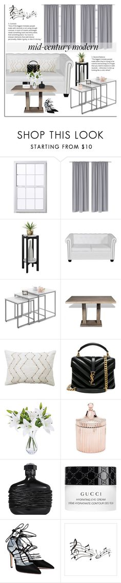 """""""Lovdock: Clean Spaces: Mid-Century Modern"""" by dora04 ❤ liked on Polyvore featuring interior, interiors, interior design, home, home decor, interior decorating, Convenience Concepts, Yves Saint Laurent, Saks Fifth Avenue and John Varvatos"""
