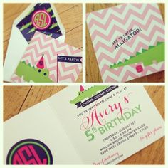 Alligator preppy birthday invitation I Pink, navy, and green, featuring chevron and an amazing monogram | Custom by Nico and Lala