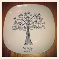 Custom Family Tree Commemorative Plate Unique by TheRustique, $35.00
