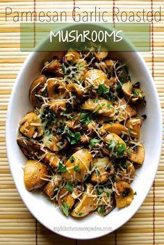 Most Popular Low Carb Recipe Roundup, June 22 – 2015 Parmesan Garlic Roasted Mushrooms Side Dish Recipes, Vegetable Recipes, Vegetarian Recipes, Dinner Recipes, Cooking Recipes, Healthy Recipes, Keto Recipes, Mushroom Recipes, Potato Recipes