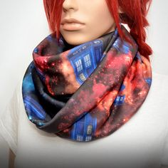 Colorful infinity scarf with galaxy Doctor Who tardis print by Pixiesdance