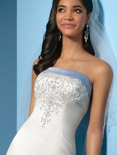 A-line Strapless Chapel Train Lace Satin Wedding Dresses