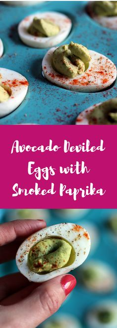 These Avocado Deviled Eggs with Smoked Paprika are super nutritious. Make them as a snack or an appetizer! @IncredibleEggs #ad #HowDoYouLikeYourEggs #eggs #recipe #eggrecipe #deviledeggs #appetizer https://www.amydgorin.com/avocado-deviled-eggs-with-smoked-paprika/