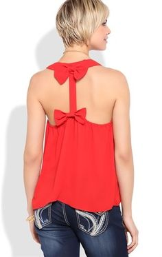 Deb Shops High Low Tank with Bow Racerback $9.50