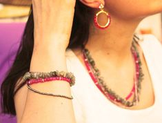 Grey Pink Necklace, Multi Lines Jewelry, Labradorite Gemstone Necklace, Pink Bead Anklet, Multi Strand Bracelet, Gray Gemstone Anklet Bangle