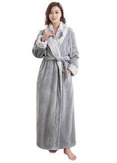 VI VI Women s Luxurious Fleece Bath Robe Plush Soft Warm Long Terry Bathrobe  Full Length Sleepwear - Gray - CQ186ZE4H9K 539c5510f