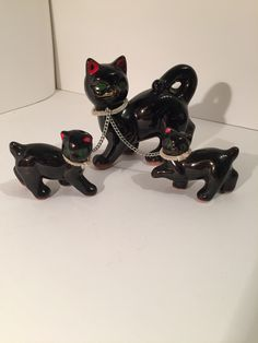 Collectible Cats, vintage 50s, high glazed brown with red ears, nose, and green eyes