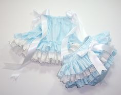 Little Miss Dorothy DOUBLE RUFFLE Baby Pillowcase Dress and Ruffle Bloomers Diaper Cover Baby Blue Gingham and White Eyelet Sizes 0 to 3T. $53.00, via Etsy.