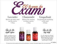 Oils for clarity with test taking! Young Living of course is the only brand I would recommend. www.theoildropper.com