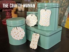 Spray painted tins... love this! From the Crafty Woman blog