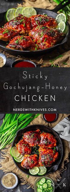 What happens when you marinate chicken in gochujang (spicy Korean chili paste) honey ginger and garlic? Deliciousness thats what. Sticky Gochujang-Honey Chicken is our newest weeknight favorite: a little sweet a lot spicy and just plain tasty. Healthy Chicken Recipes, Turkey Recipes, Asian Recipes, Crockpot Recipes, Healthy Food, Budget Freezer Meals, Frugal Meals, Budget Recipes, Gochujang Recipe