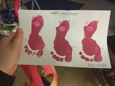 The three little pigs infant/toddler footprint craft Pig Crafts, Daycare Crafts, Classroom Crafts, Baby Crafts, Toddler Crafts, Physics Classroom, Classroom Ideas, 3 Little Pigs Activities, Fairy Tale Activities