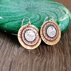 Mixed Metal Earrings with Brass, Copper and Silver, Textured Metal Earrings, Disc Earrings, Oxidized Jewelry, Shillyshallyjewelry by ShillyShallyjewelry on Etsy