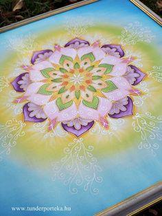 Nyárelő selyem mandala, keretezett 44 x 44 cm