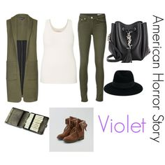 violet (American horror story) by emmahhayes on Polyvore featuring polyvore fashion style maurices Topshop rag & bone/JEAN American Eagle Outfitters Yves Saint Laurent Maison Michel clothing