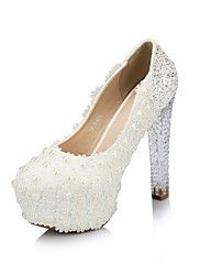zapatos de las mujeres del dedo del pie redondo bombas de tacón grueso con zapatos de boda de tacón de cristal